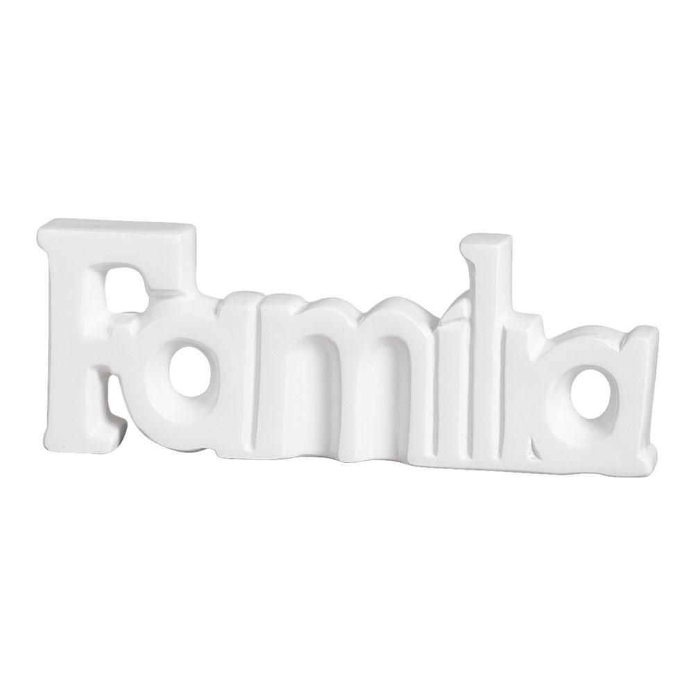 Palavra Decorativa Família em Cerâmica Branco Linha Luz 15x40 cm