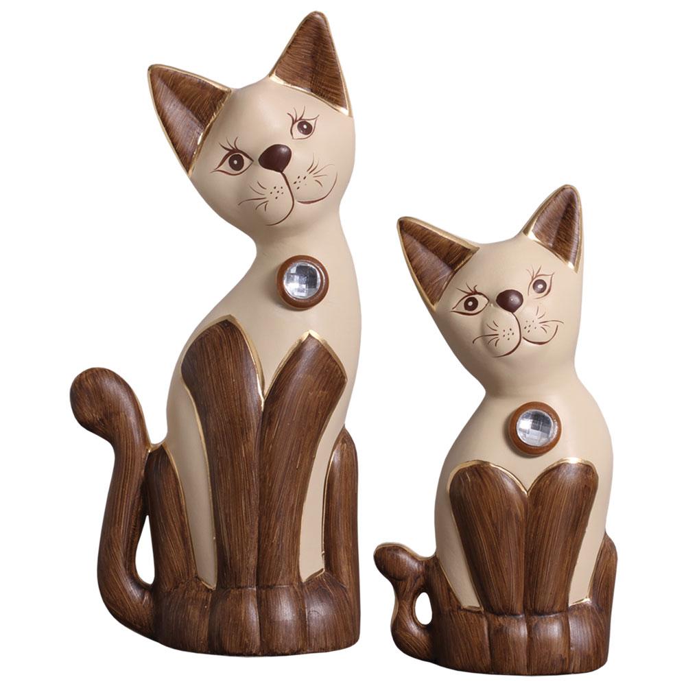 Par de Gatos Decorativos em Cerâmica Marrom C/ Bege