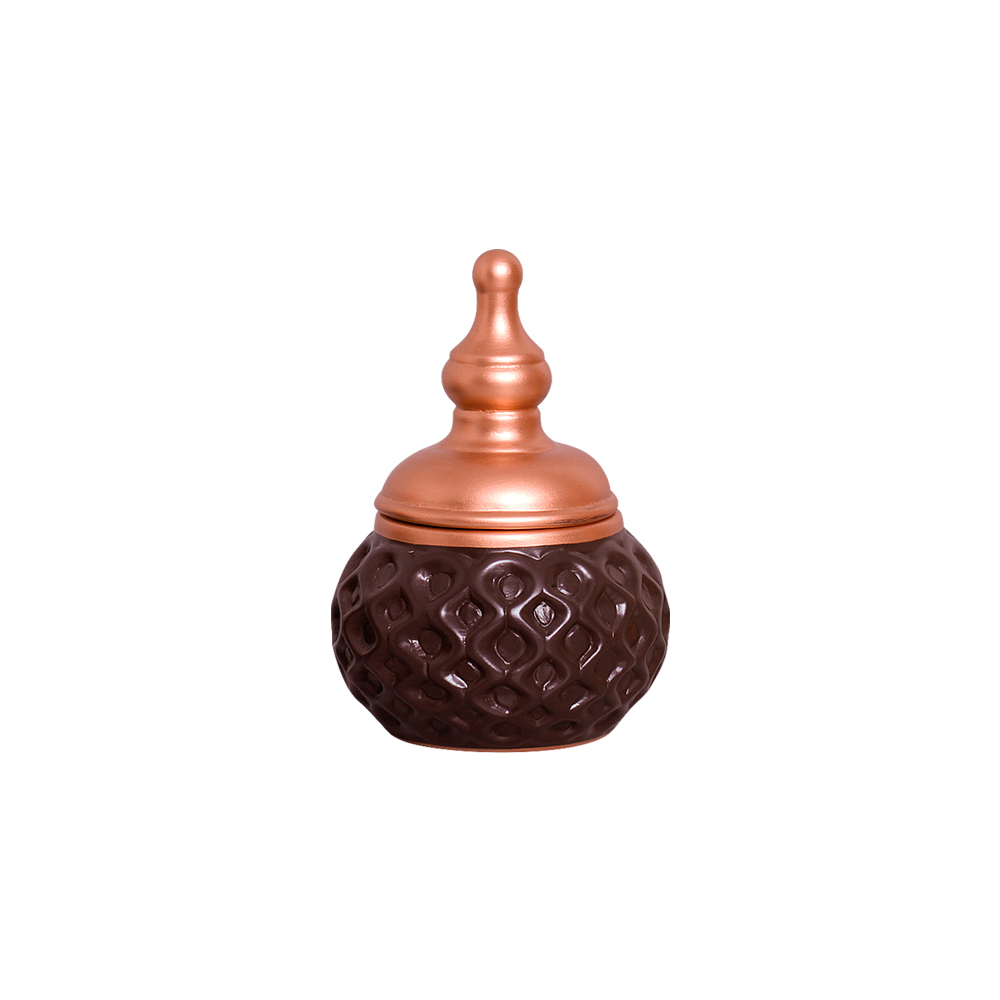 Par de Vasos C/ Tampa Marrom e Bronze Linha Topázio