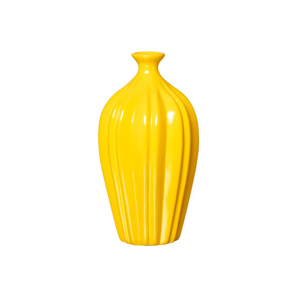 Par de Vasos em Cerâmica Amarelo P/ Decoração Sala de Estar
