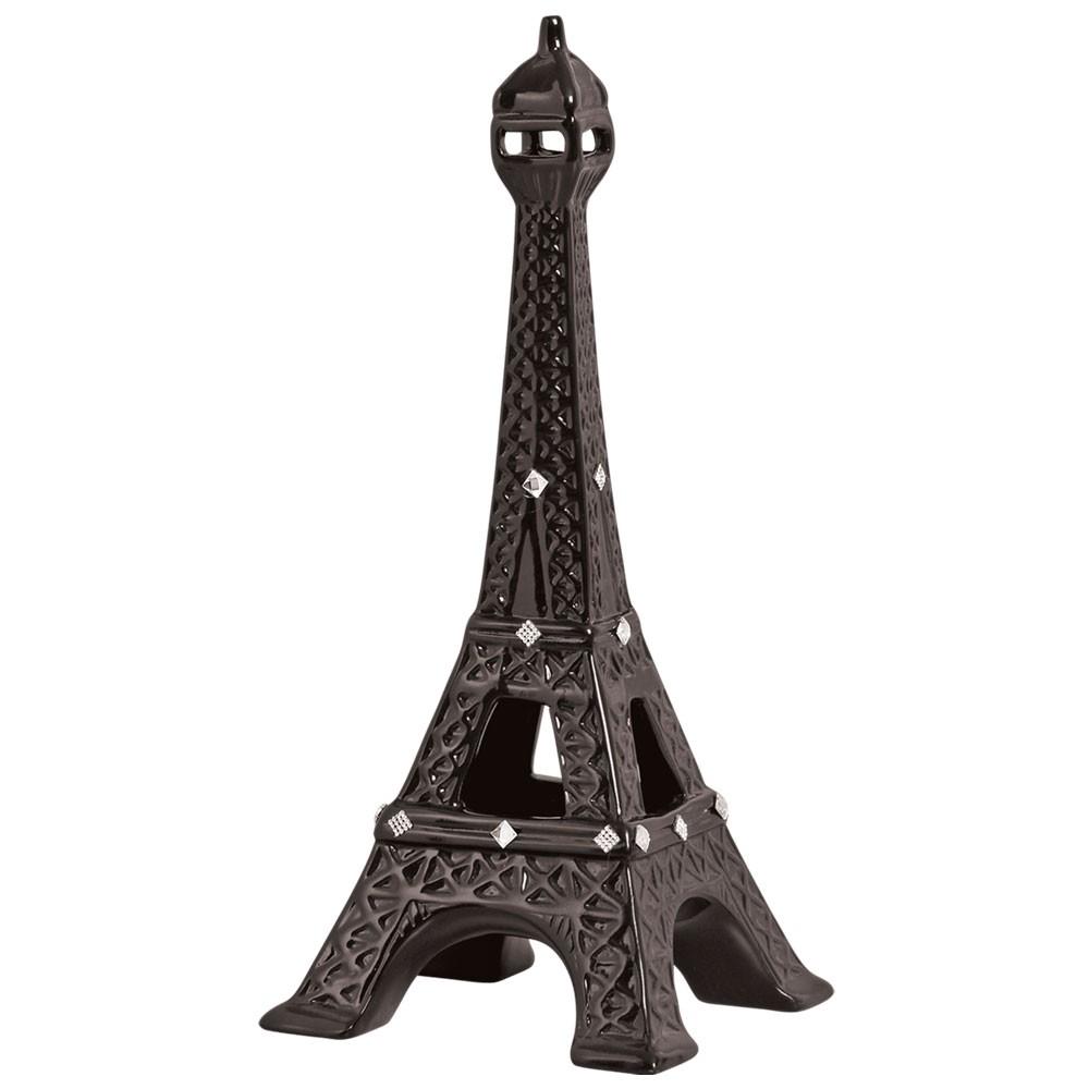 Torre Eiffel em Cerâmica Preta Linha Ônix 51x22,5 cm
