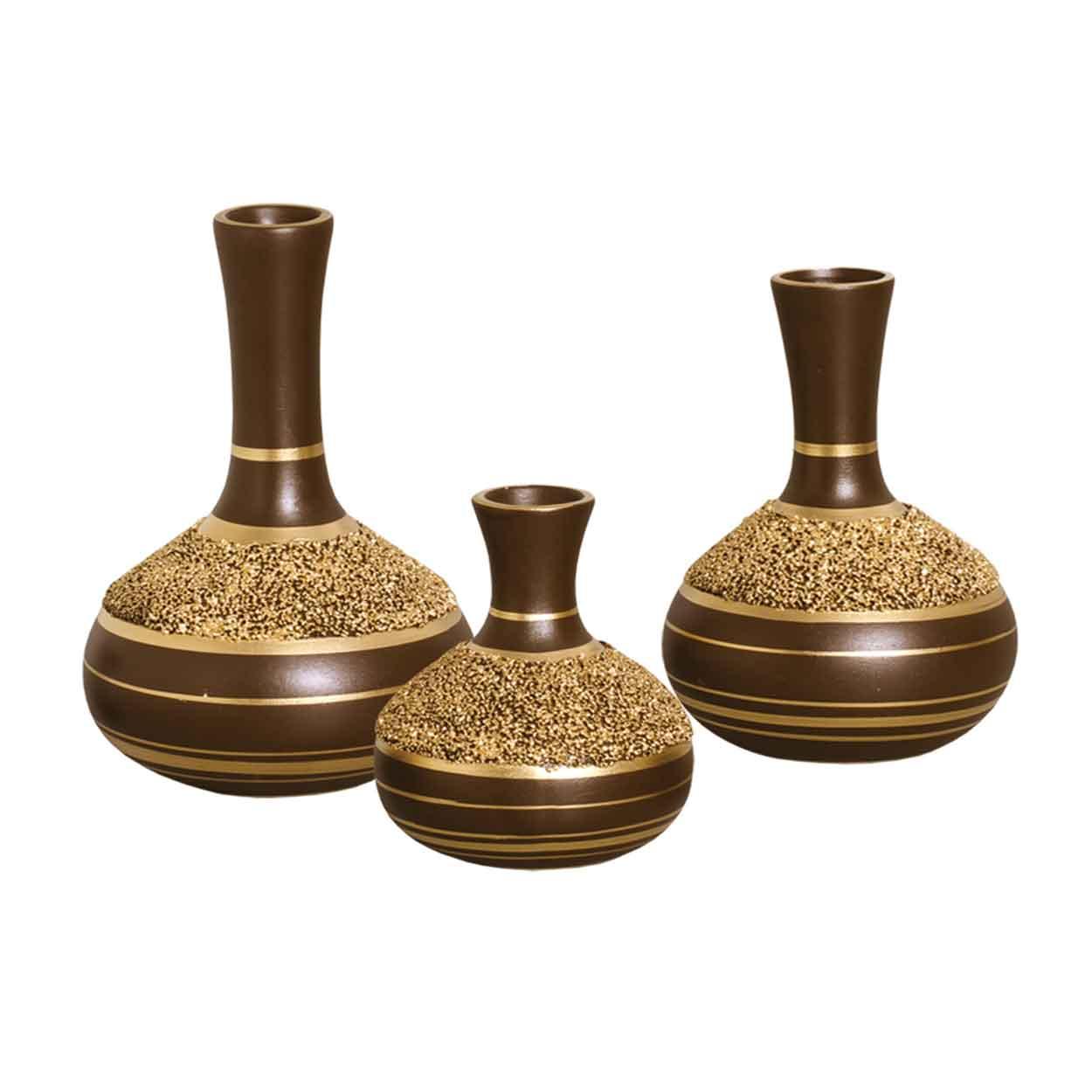 Trio de Vasinhos Marrom e Dourado Linha Areia