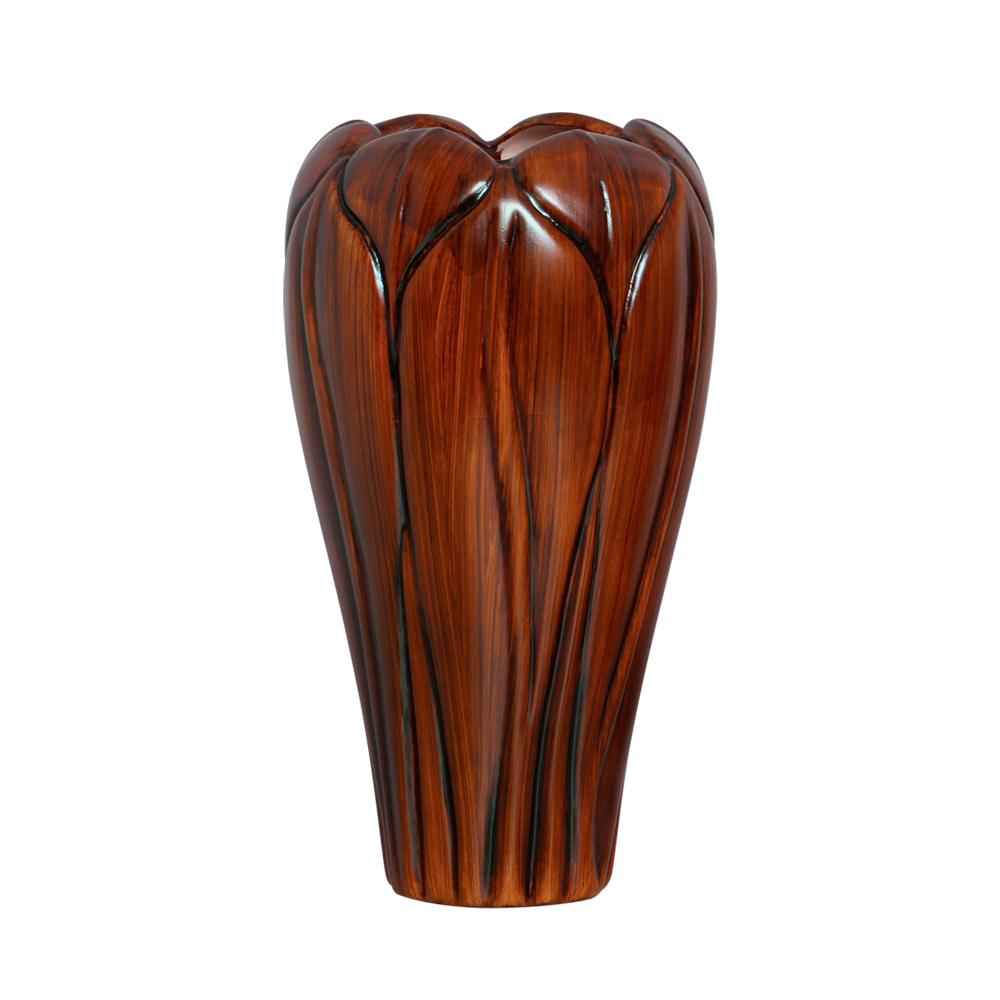 Vaso Alto Folha Em Cerâmica Linha Artesã 34x16 cm