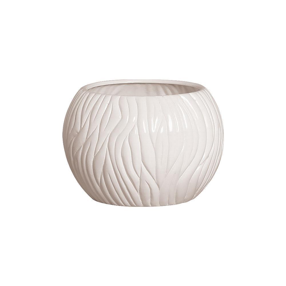Vaso Branco Linha Maré Em Cerâmica 17,7x24,4 cm