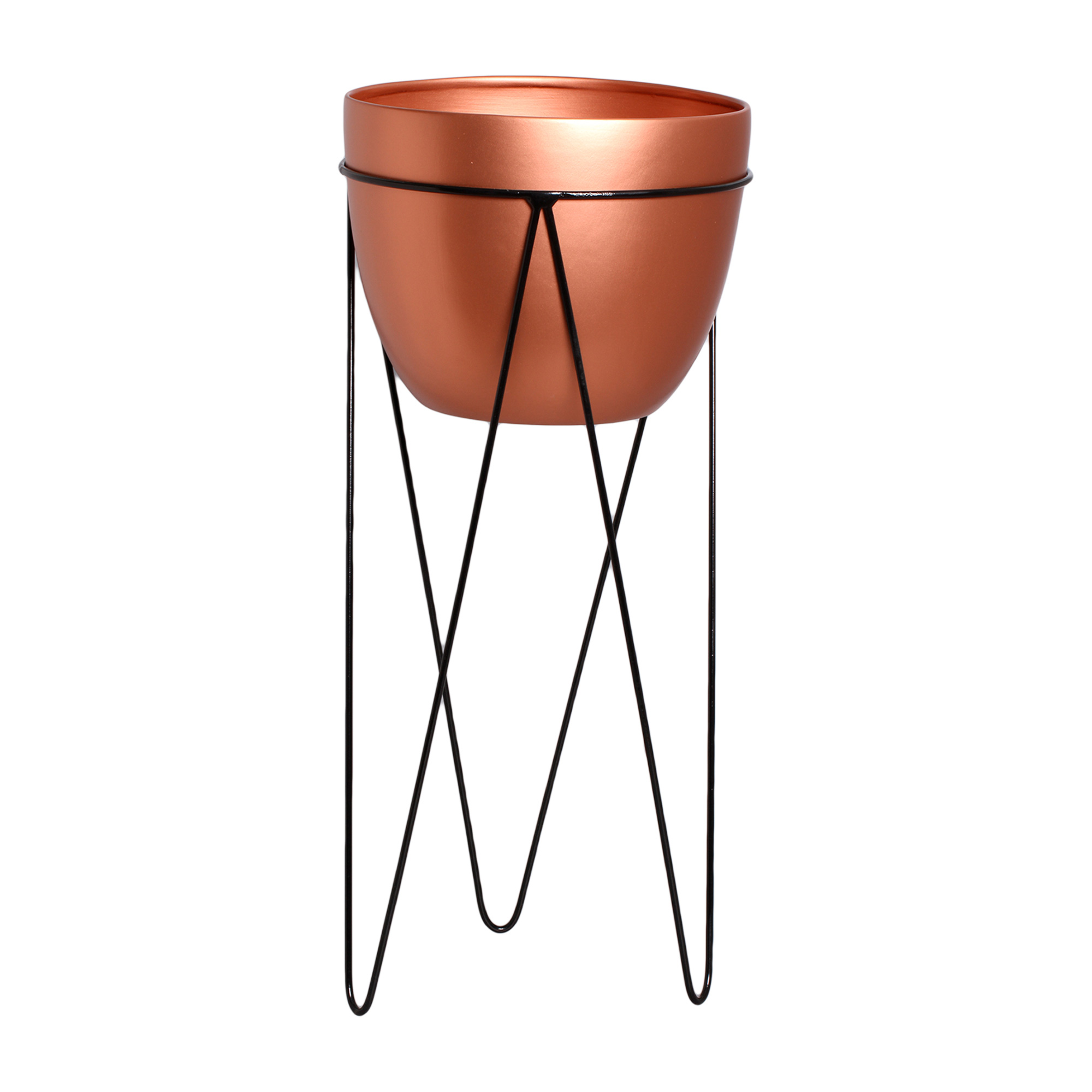 Vaso De Chão G Em Cerâmica C/ Suporte em Ferro Linha Bronze