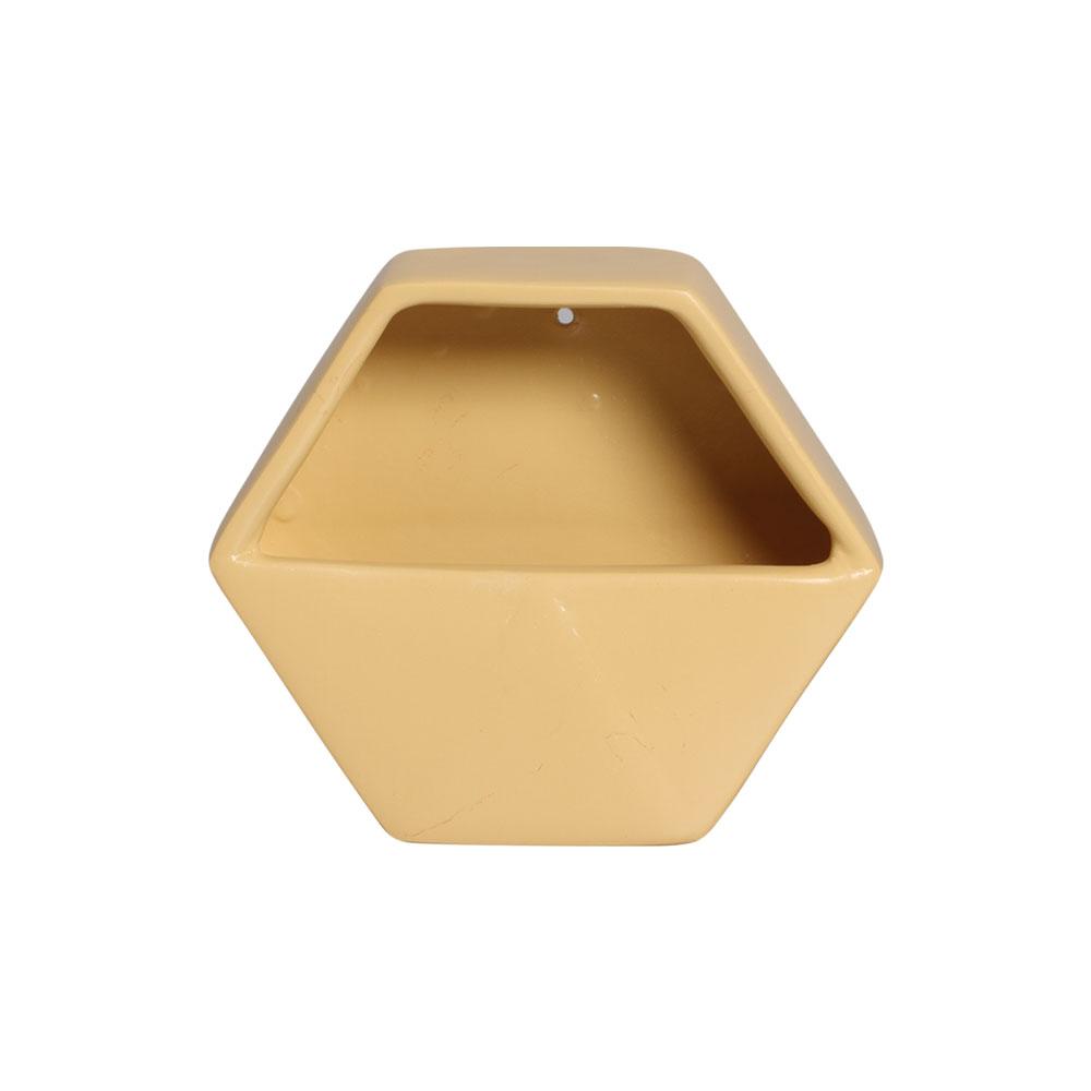 Vaso De Parede Aberto Em Cerâmica Amarelo 19,5x23 cm