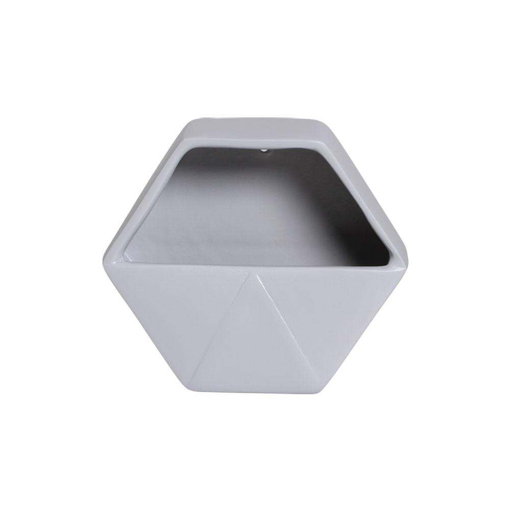 Vaso De Parede Aberto Em Cerâmica Cinza 19,5x23 cm