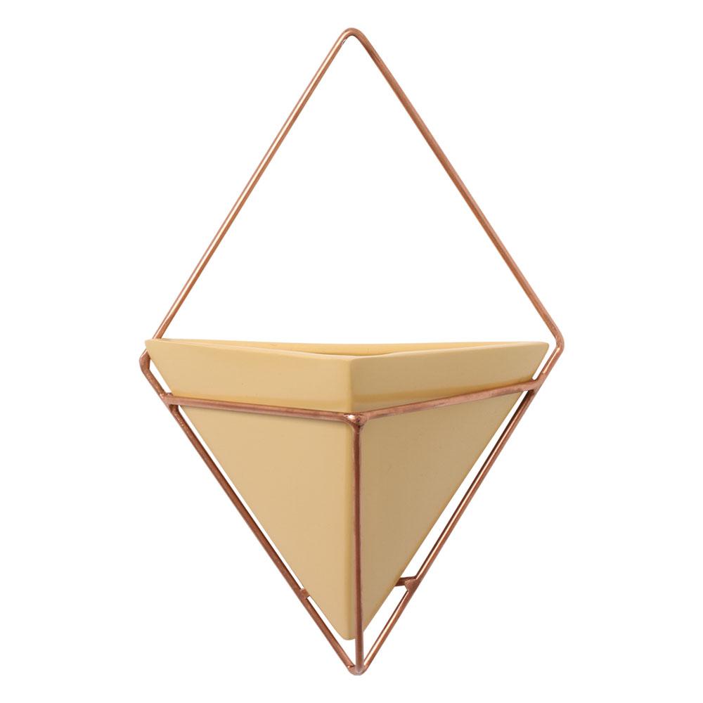 Vaso De Parede Amarelo Triangular Cerâmica C/ Suporte Ferro