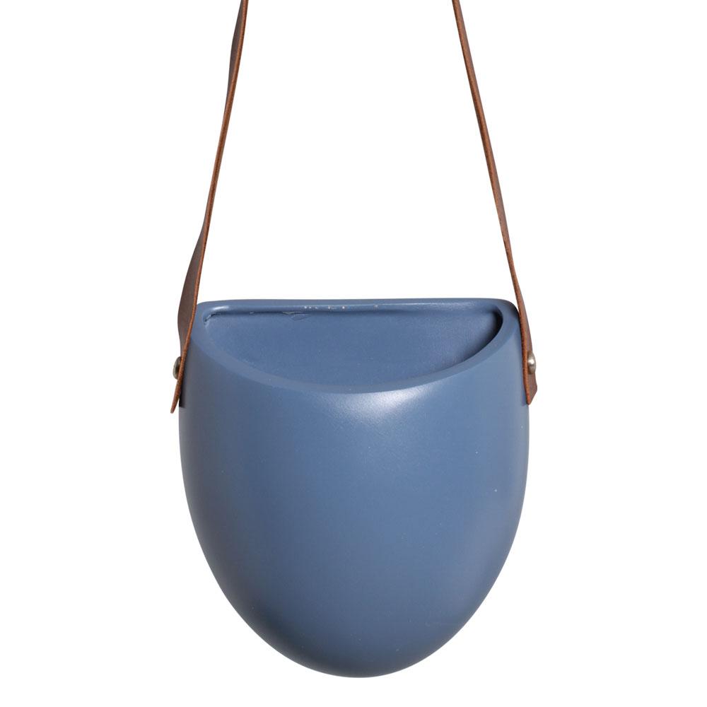 Vaso De Parede Em Cerâmica Azul C/ Alça de Couro Sintético