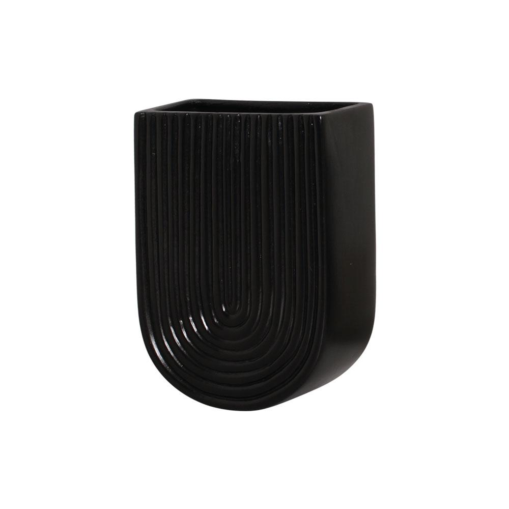 Vaso De Parede Em Cerâmica Preto 19,2x13,7