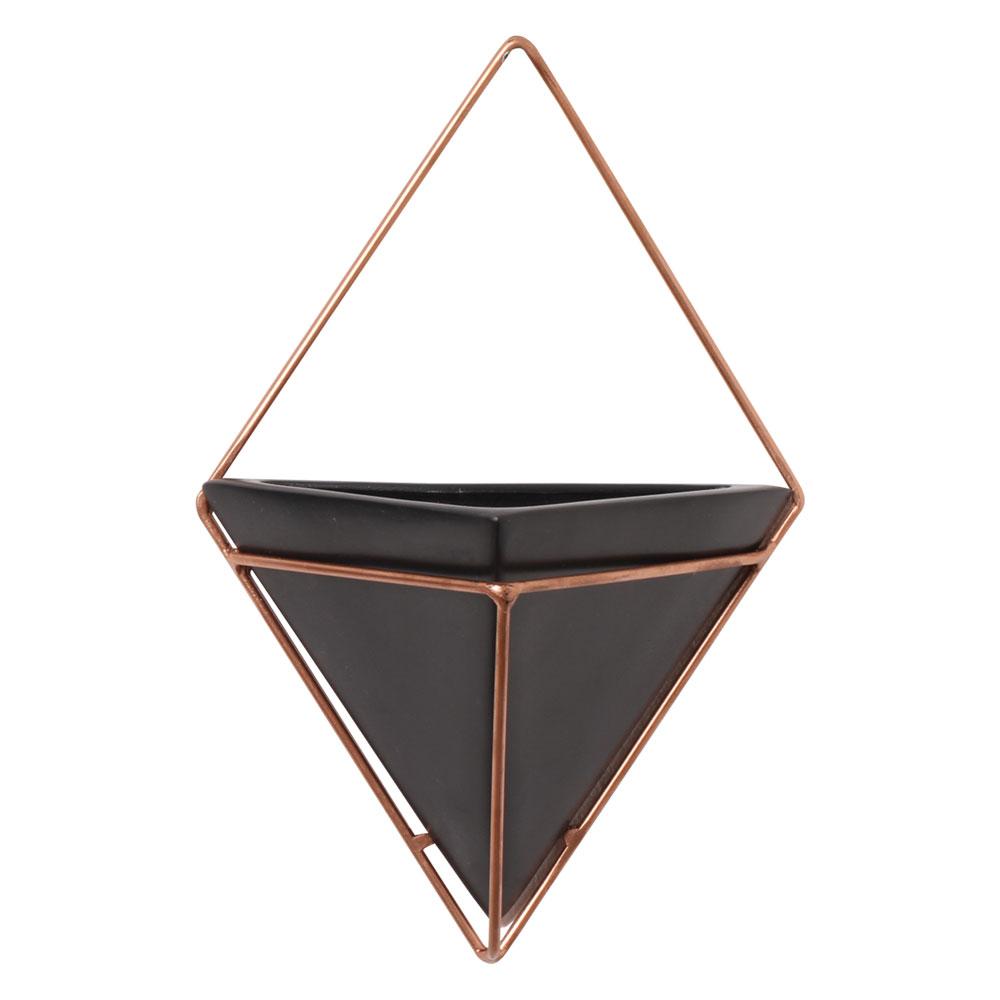 Vaso De Parede Preto Triangular Cerâmica C/ Suporte Ferro