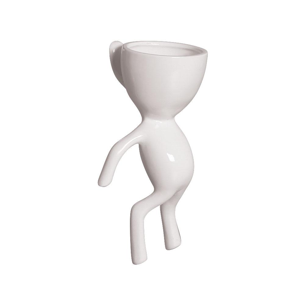 Vaso De Parede Robert Plant Em Cerâmica Branco 20x10,2 cm