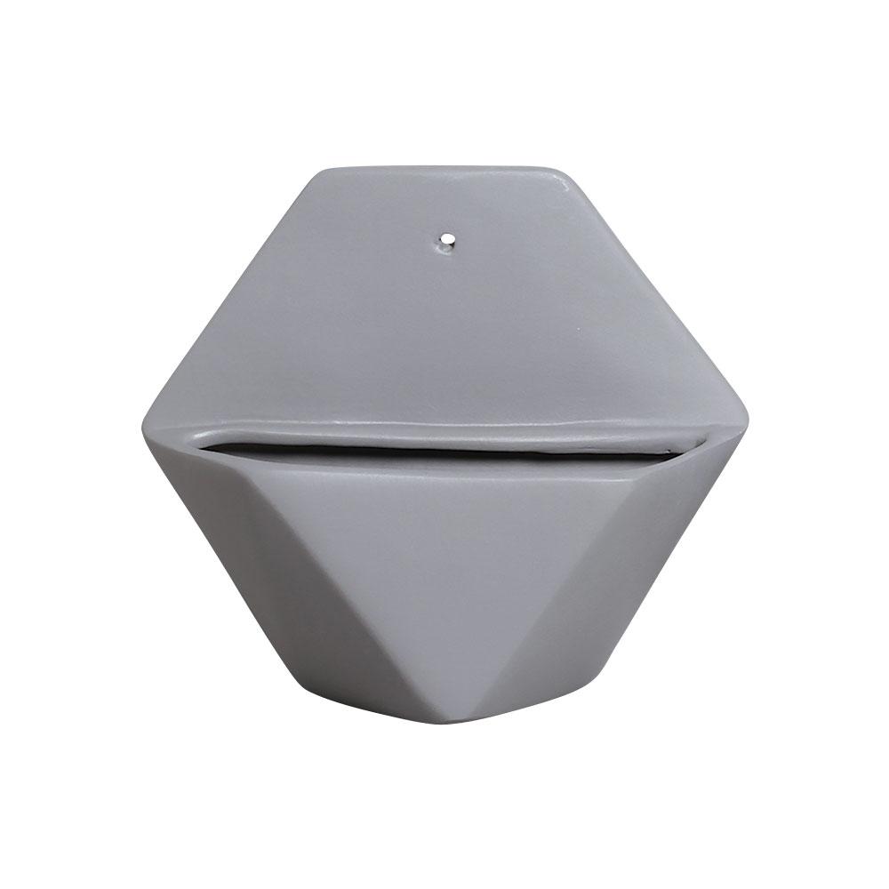 Vaso De Parede Sextavado Cerâmica Cor Cinza 19,5x22 cm