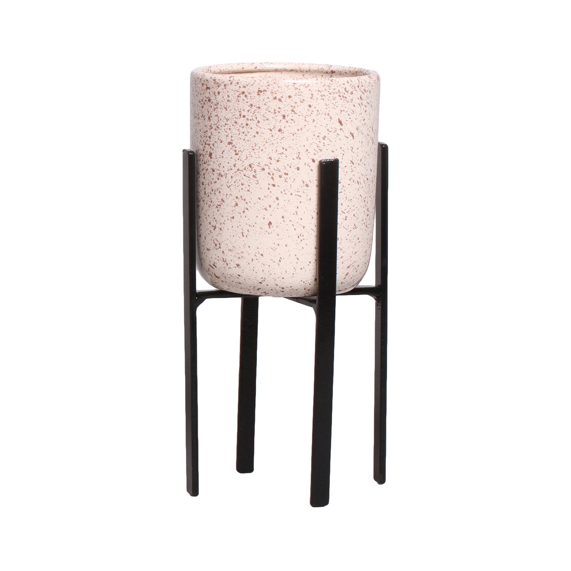 Vaso Decorativo Em Cerâmica C/ Suporte Linha Granilite