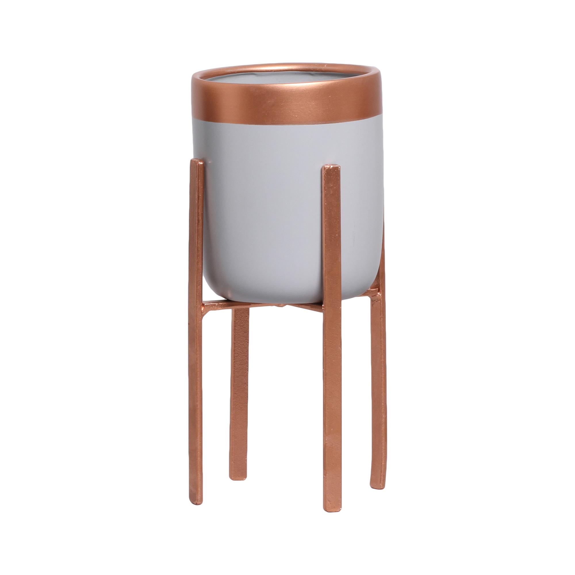 Vaso Em Cerâmica C/ Suporte Ferro P/ Decoração