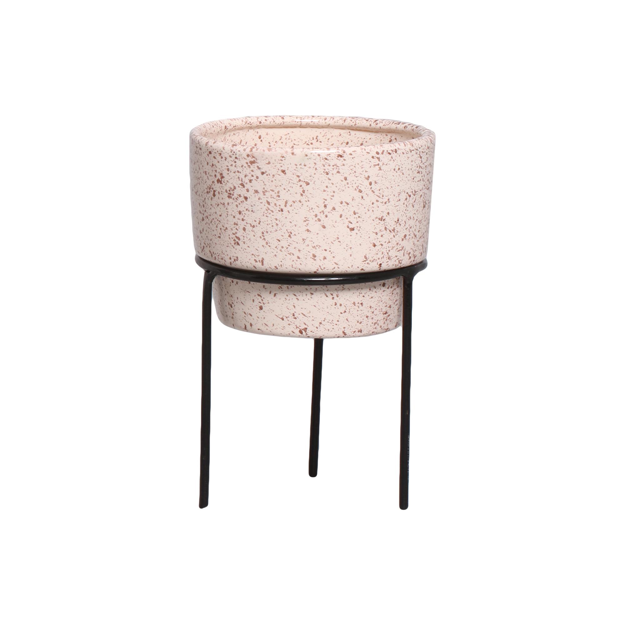 Vaso Em Cerâmica P/ Suculenta C/ Sup. Em Ferro Linha Granilite