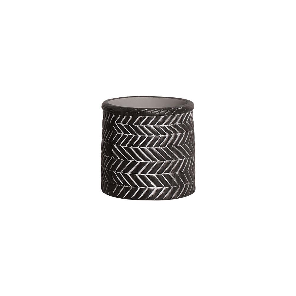 Vaso Étnico Preto Pequeno Em Cerâmica 13,7 x 17,2 cm