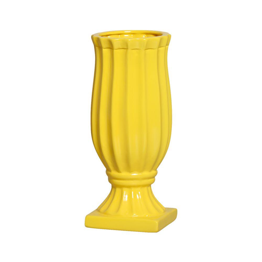 Vaso Exotic Linha Festa Cor Amarelo 30 x 12,5 cm