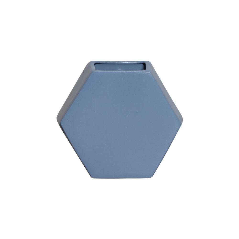 Vaso De Parede Hexagonal Em Cerâmica Azul 24,5x26,4 cm