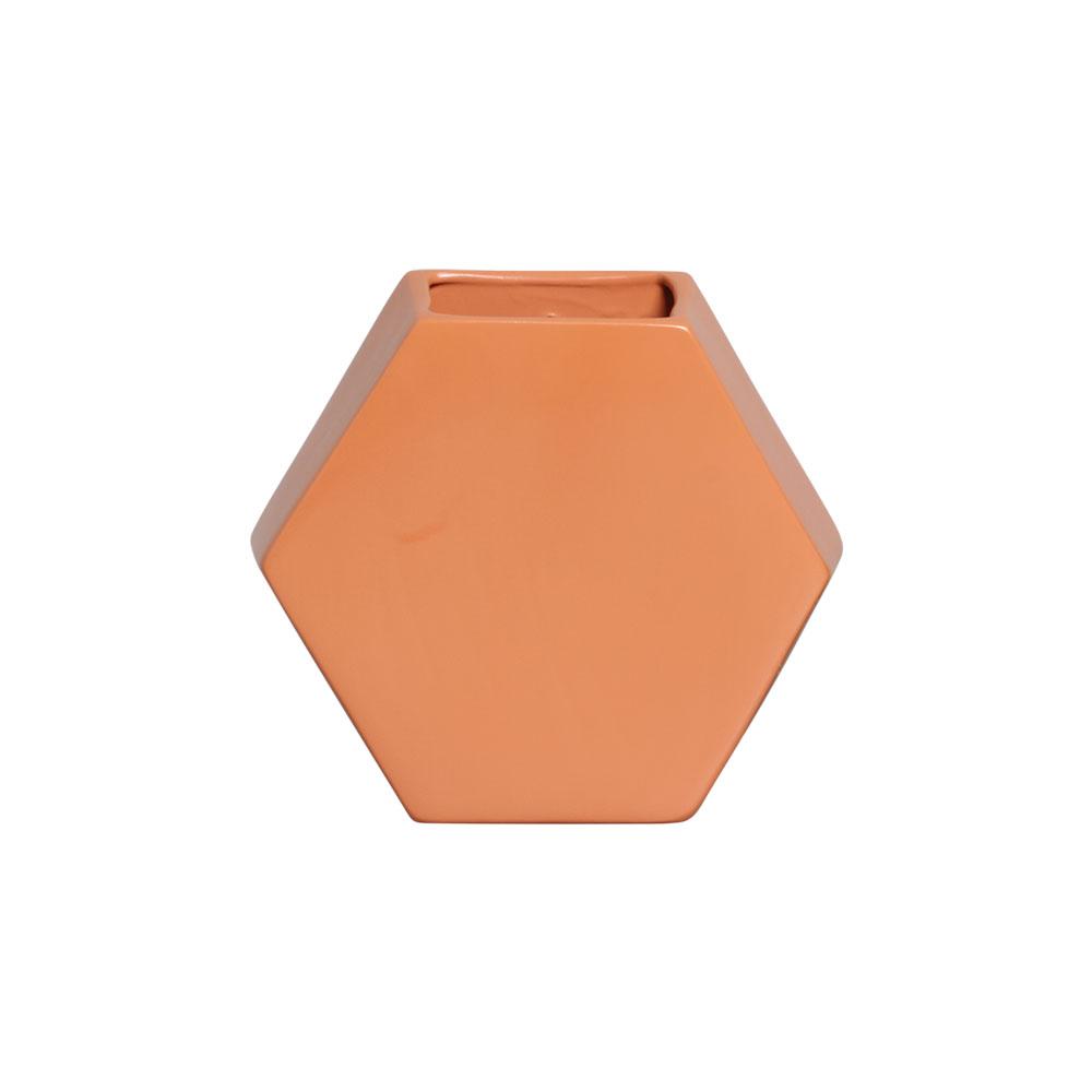 Vaso De Parede Hexagonal Em Cerâmica Laranja 24,5x26,4 cm