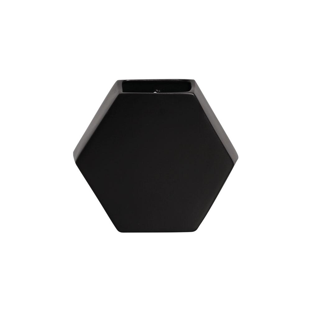 Vaso De Parede Hexagonal Em Cerâmica Preto 24,5x26,4 cm