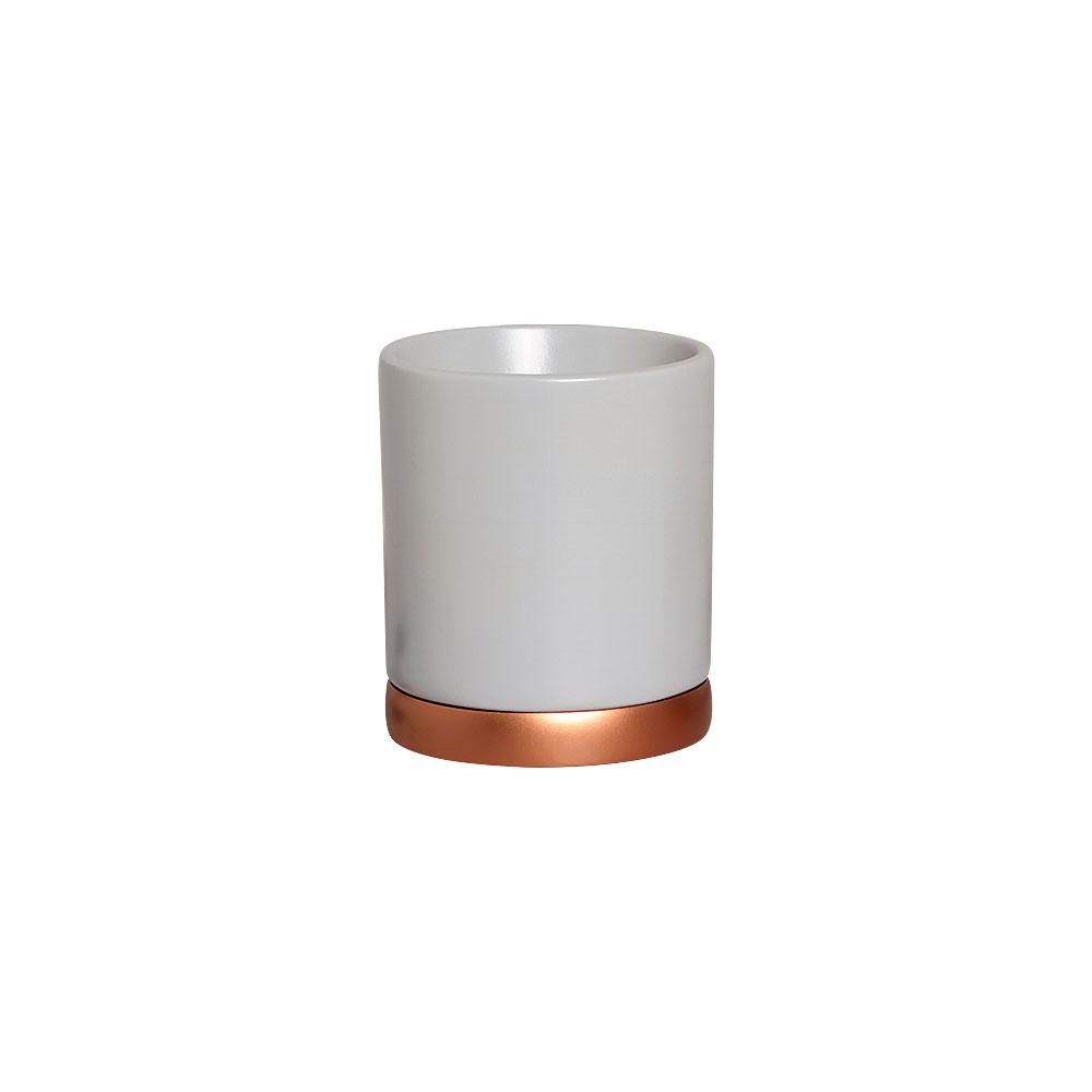 Vaso M Branco e Pratinho Cor Bronze Em Cerâmica 19,4x17 cm