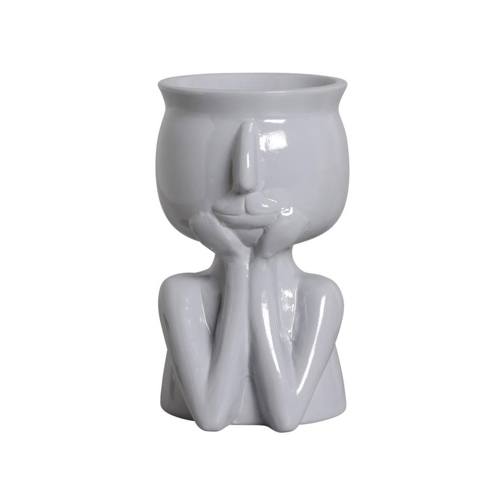 Vaso Mãos No Rosto Cerâmica Cinza 18,2x10,6 cm