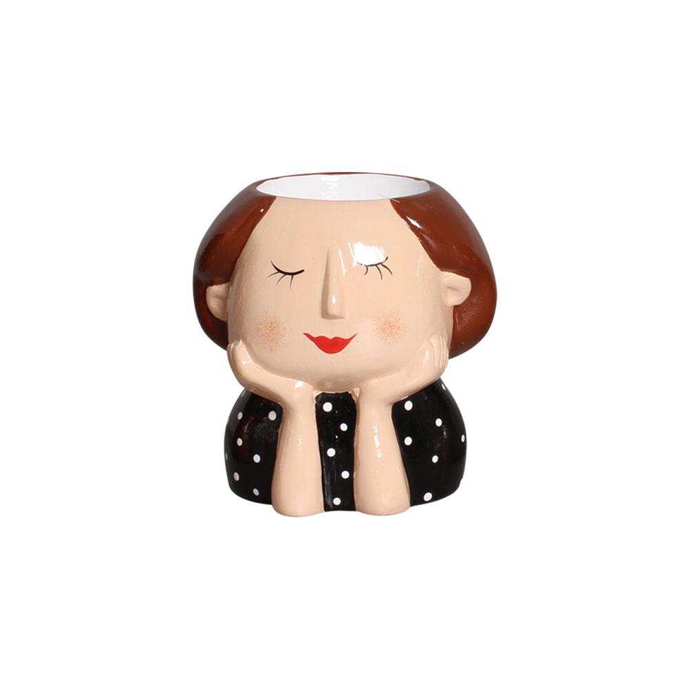 Vaso Menina Moça Morena Olhos Fechados Em Cerâmica 12,2x11,7 cm