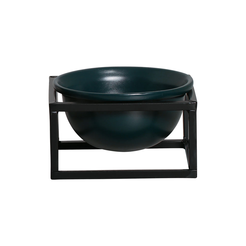 Vaso P Azul Cerâmica C/ Suporte Ferro Bbb Decora Mesa Sala