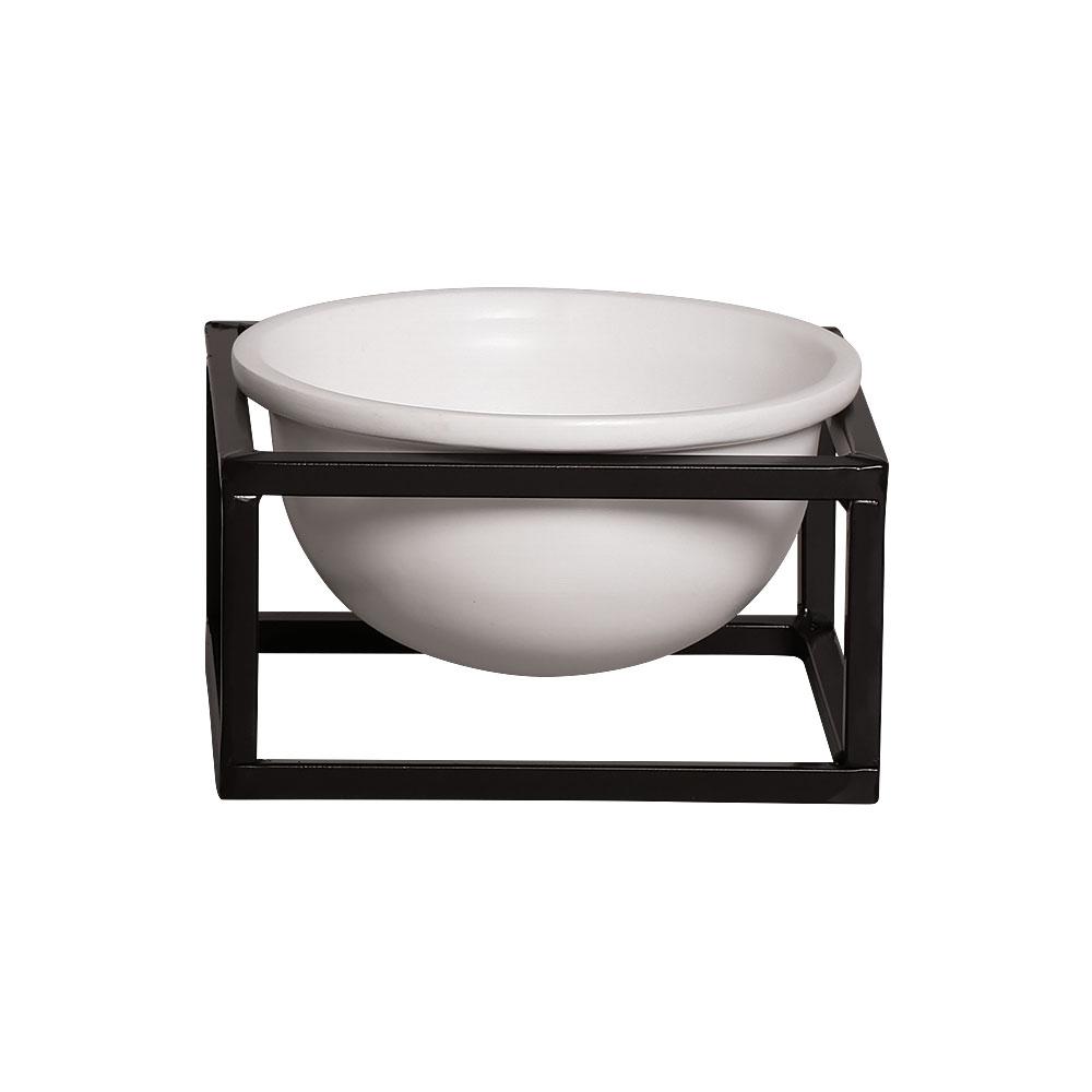 Vaso P Branco Cerâmica C/ Suporte Ferro Bbb Decora Mesa Sala