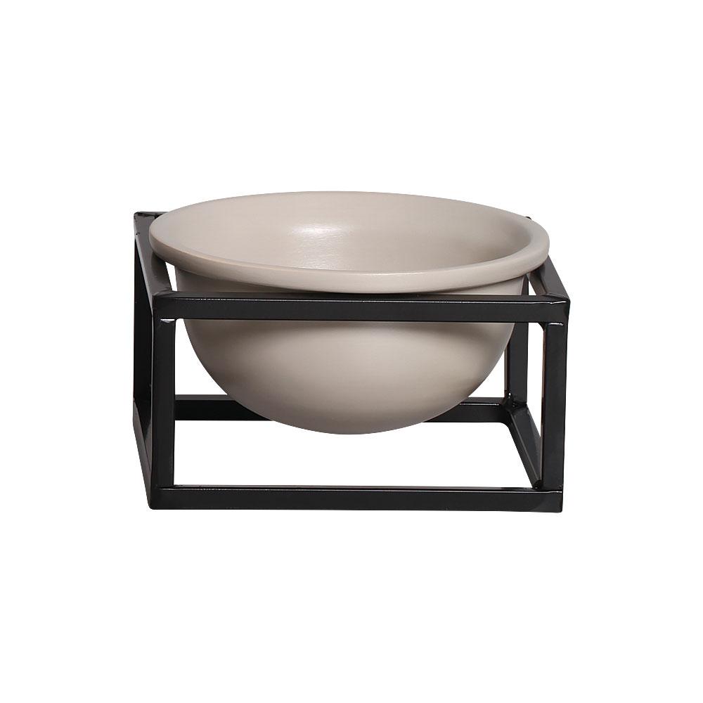 Vaso P Nude Cerâmica C/ Suporte Ferro Bbb Decora Mesa Sala