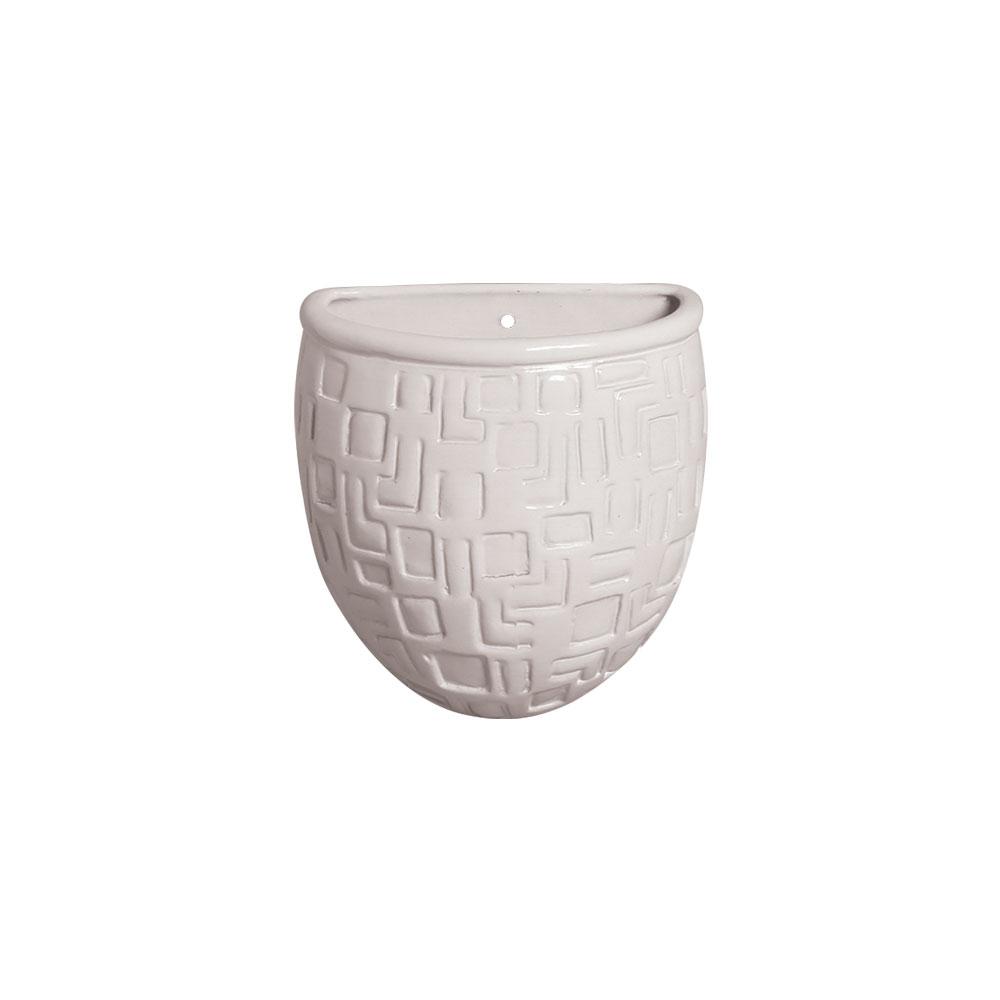Vaso Parede Planta Arredondado Cerâmica Branco 15,7x13,5 cm