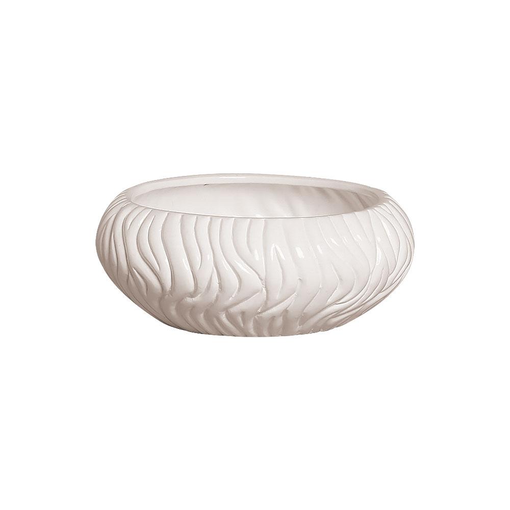 Vaso Redondo Branco Linha Maré Em Cerâmica 11,1x27 cm