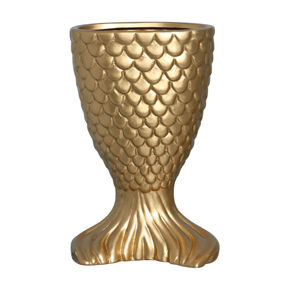 Vaso Sereia Na Cor Dourado 25x16,5 cm