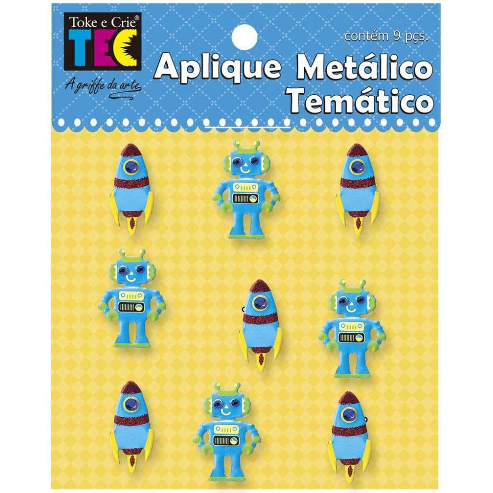 APLIQUE METÁLICO TEMÁTICO 11,5X9 CM ASTRONAUTA