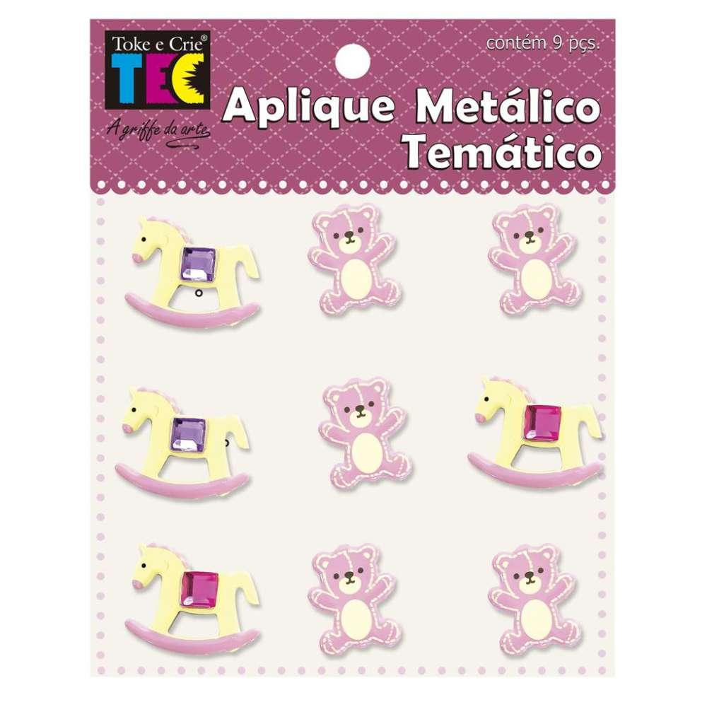 Aplique Metalico Tematico 11,5x9 Cm Bebe Menina