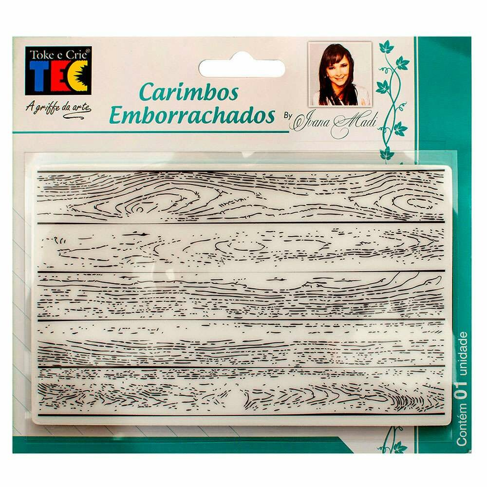 CARIMBO EMBORRACHADO 10X15 CM MADEIRA (BY IVANA MADI)
