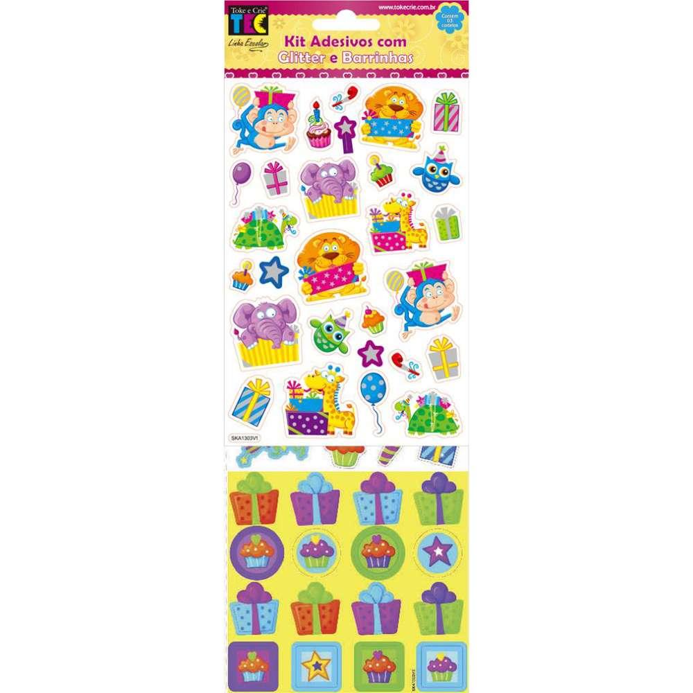 Kit Adesivo Com Glitter E Barrinhas Festa