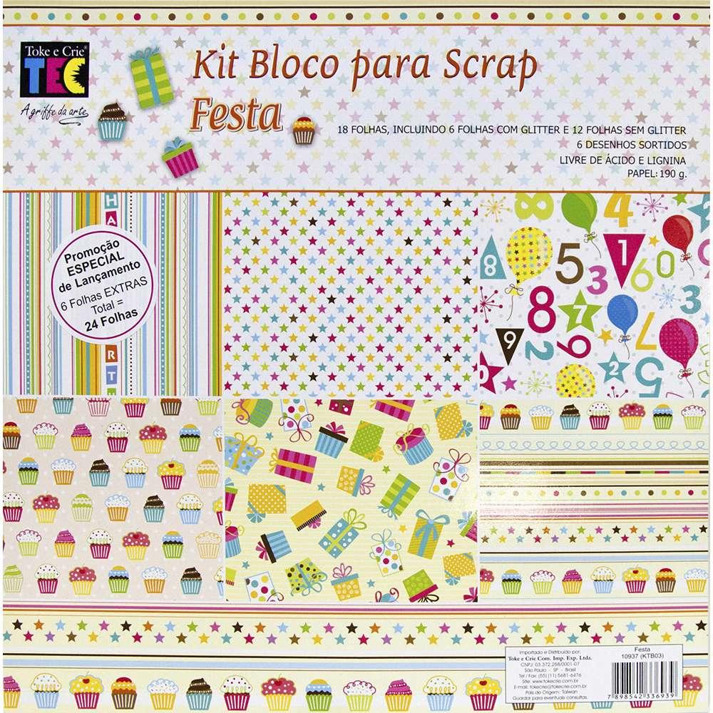 KIT BLOCO P/ SCRAP FESTA C/ 24 FLS