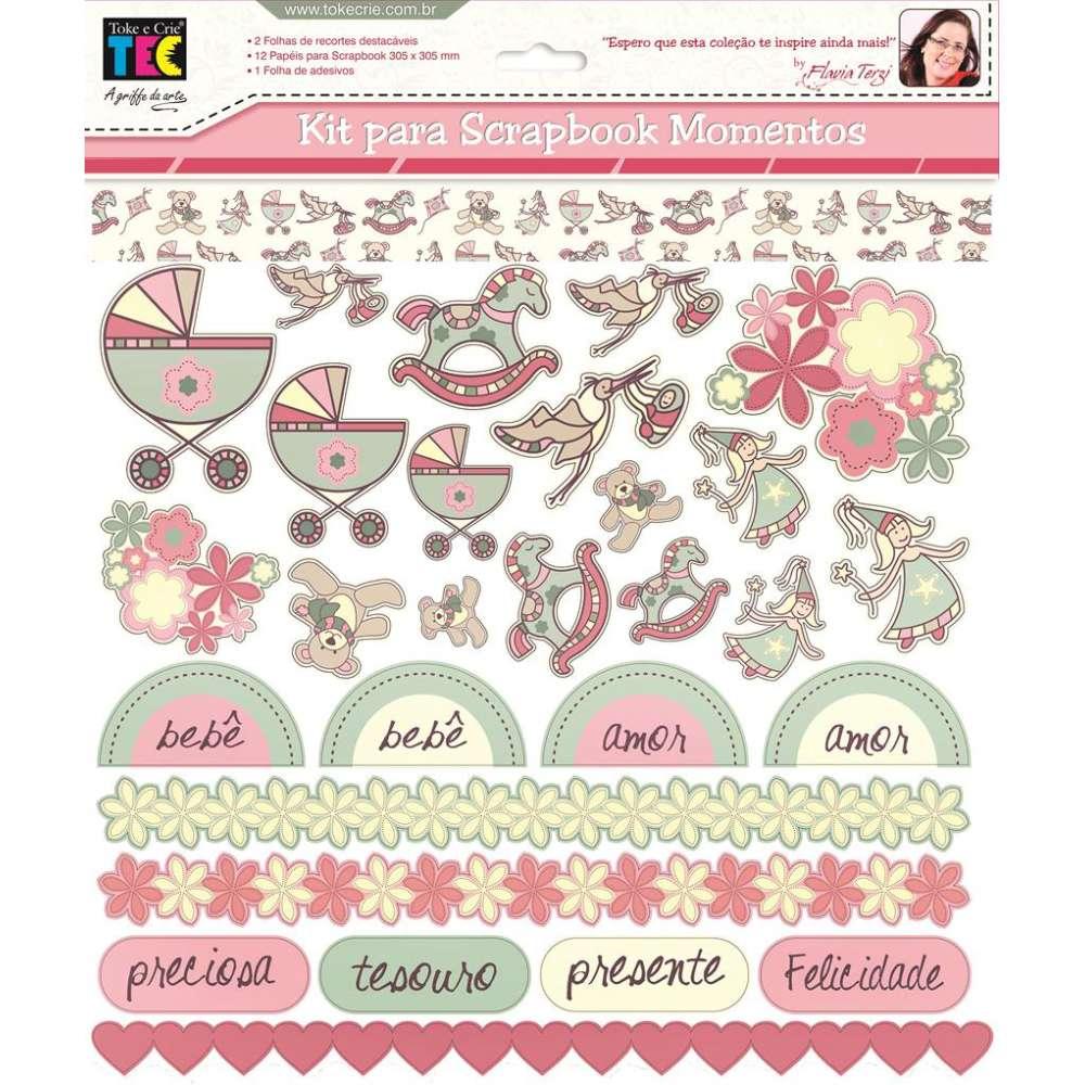 Kit P/ Scrapbook Momentos Bebe Menina (by Flavia Terzi)