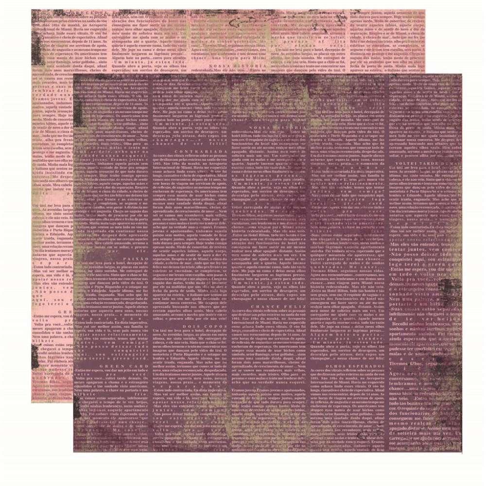 Papel P/ Scrap Basico Vintage Lilas Jornal (by Flavia Terzi)