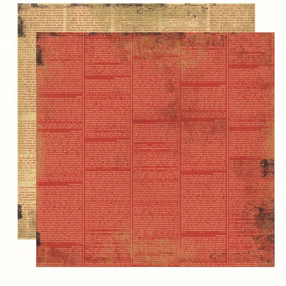 Papel P/ Scrap Basico Vintage Vermelho Jornal (by Flavia Terzi)