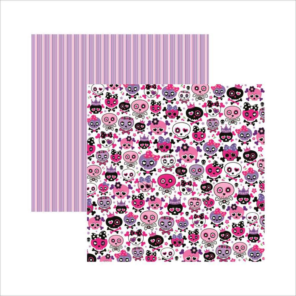 PAPEL P/ SCRAP DF CAVEIRAS PINK DIVERTIDAS