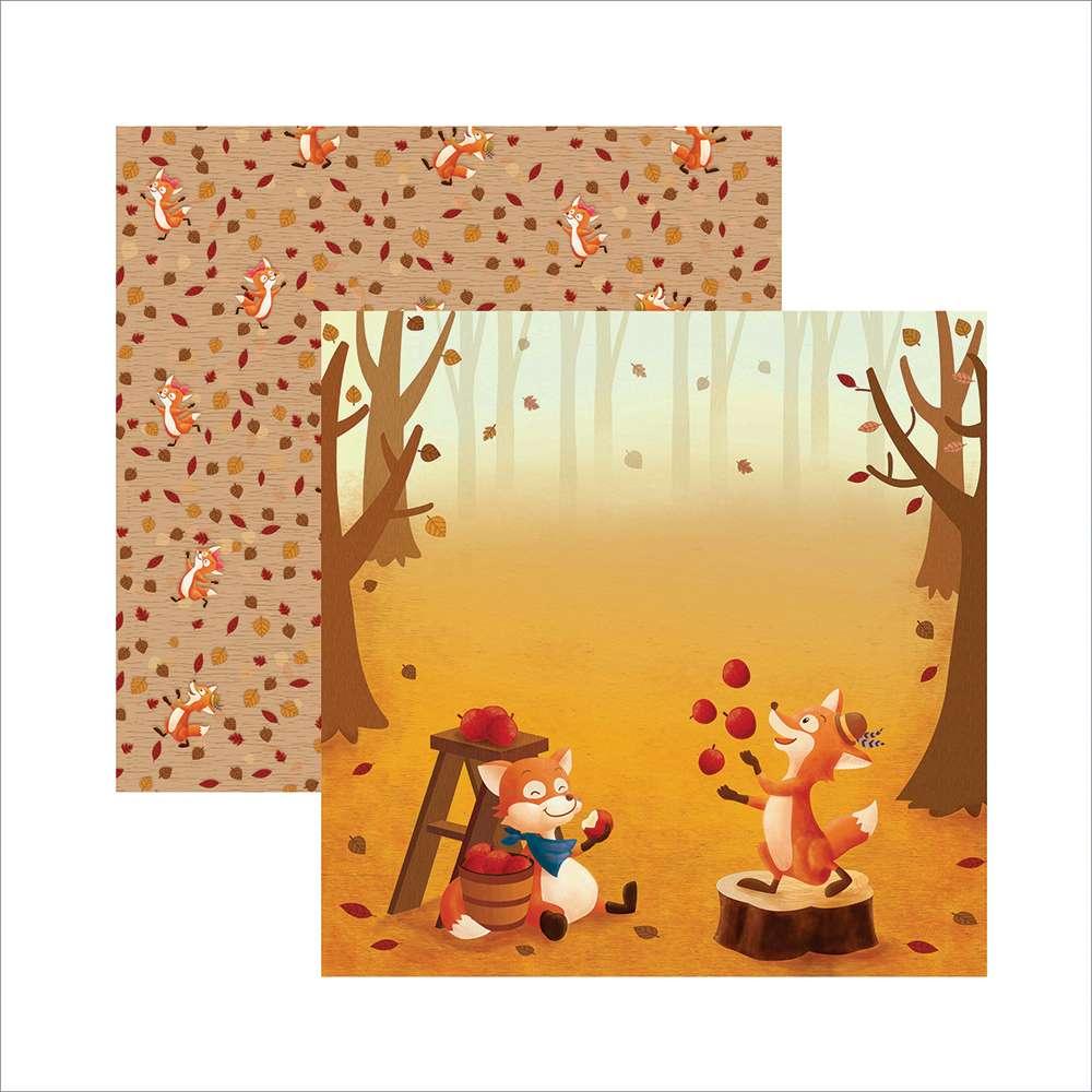 Papel P/ Scrap Df Raposas Do Outono Bosque