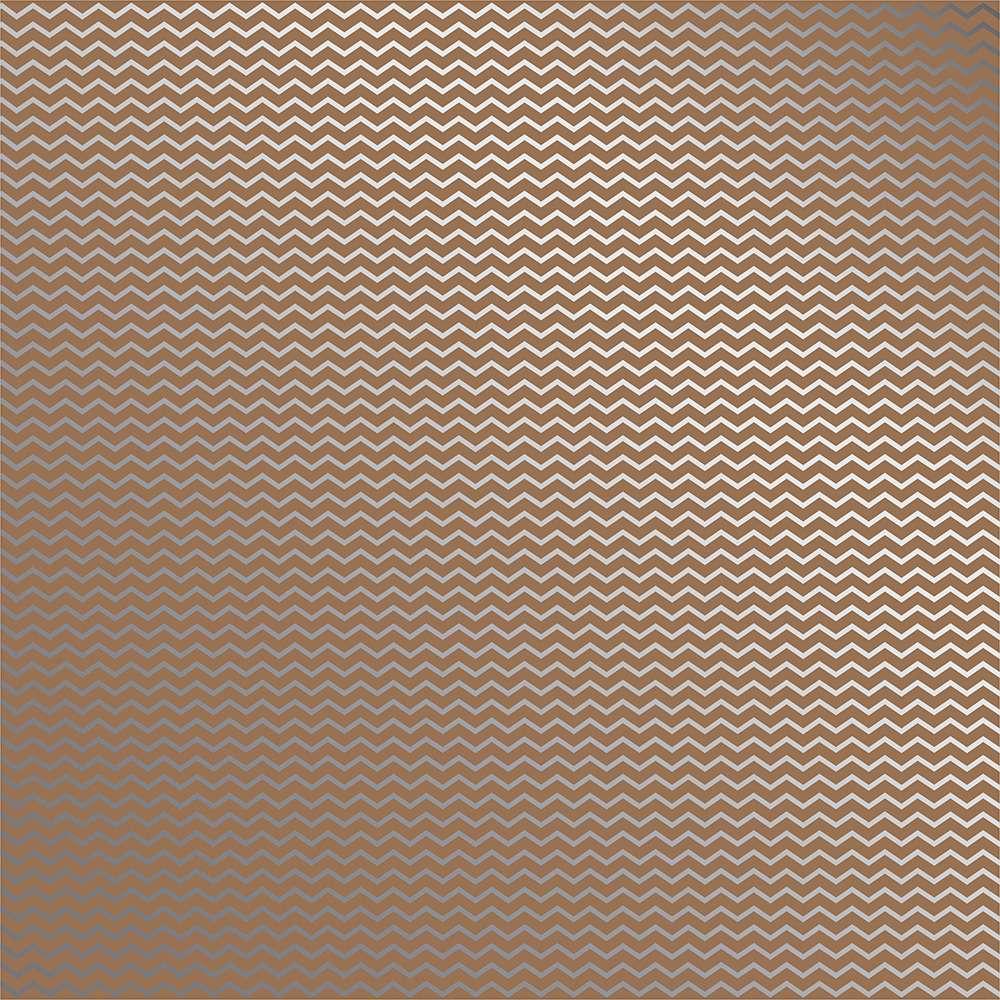 Papel P/ Scrap Metalizada Chevron Prateado Fd Kraft