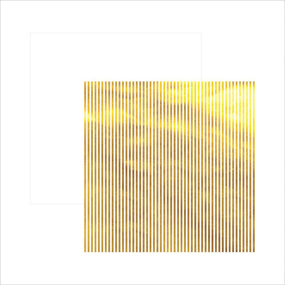 Papel P/ Scrap Metalizada Listras Dourado Fd Branco