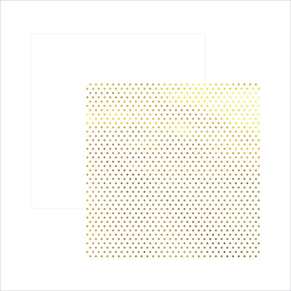 Papel P/ Scrap Metalizada Poa Dourado Fd Branco