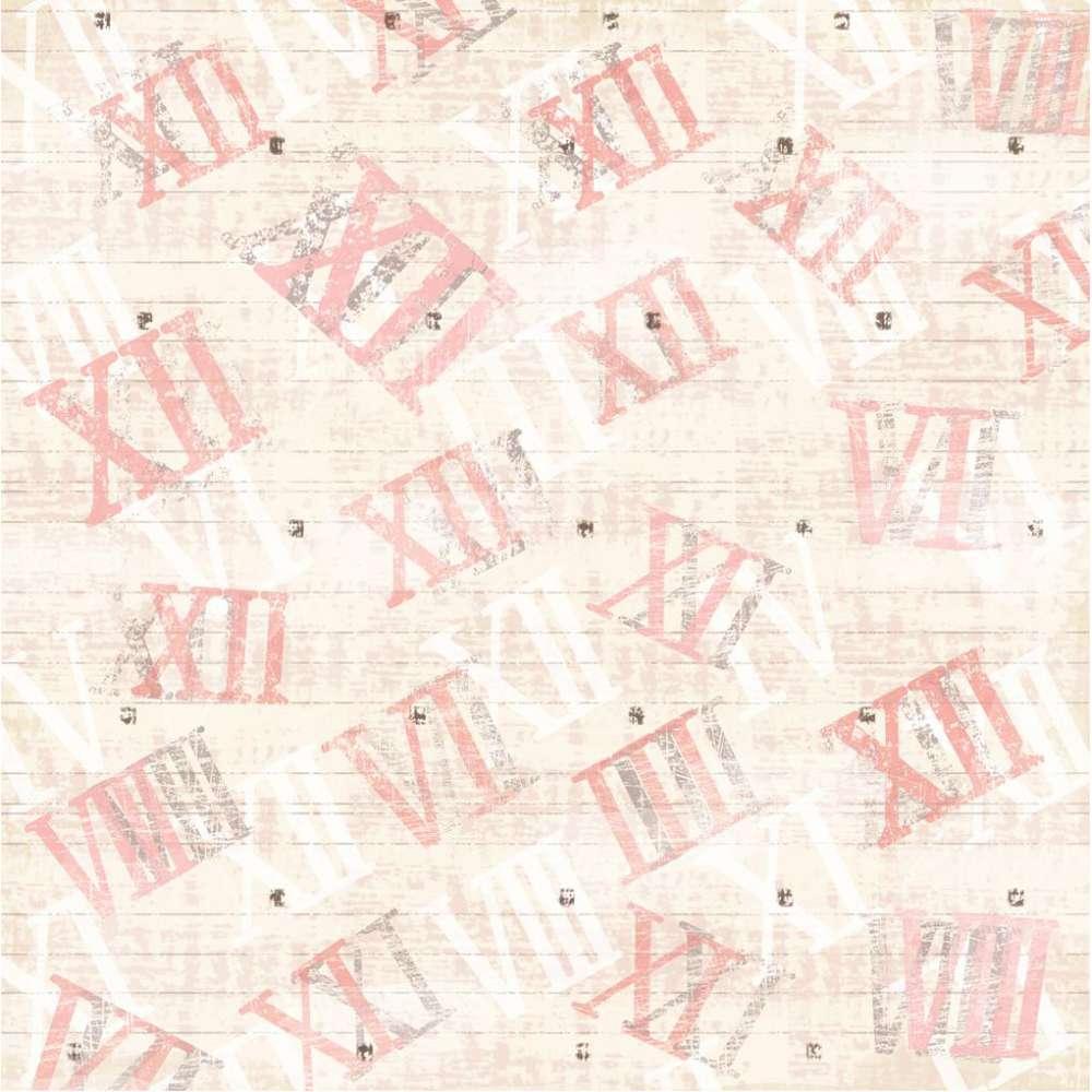 Papel P/ Scrap Simples Vintage Relogios Numeros