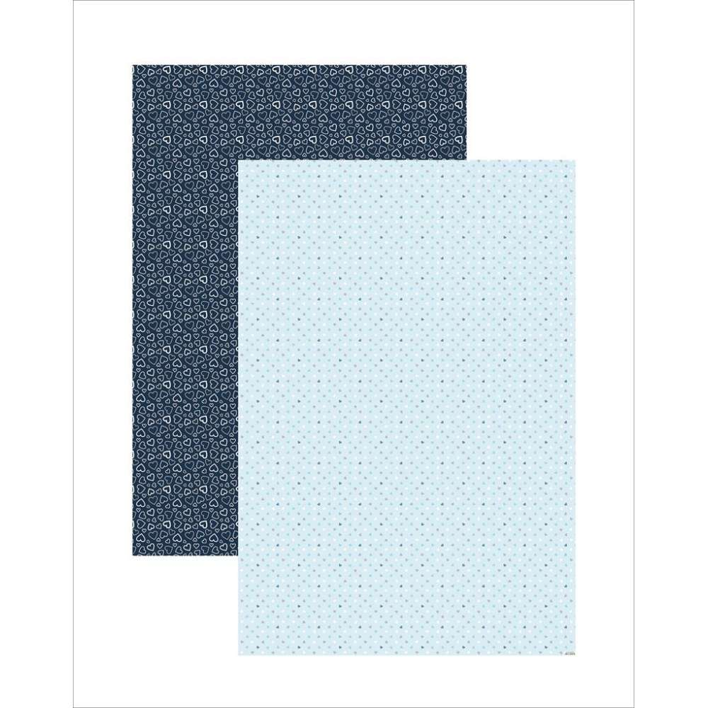 PAPEL PLUS MULTITONS CORACOES AZUL 64X94CM (BY FLAVIA TERZI)