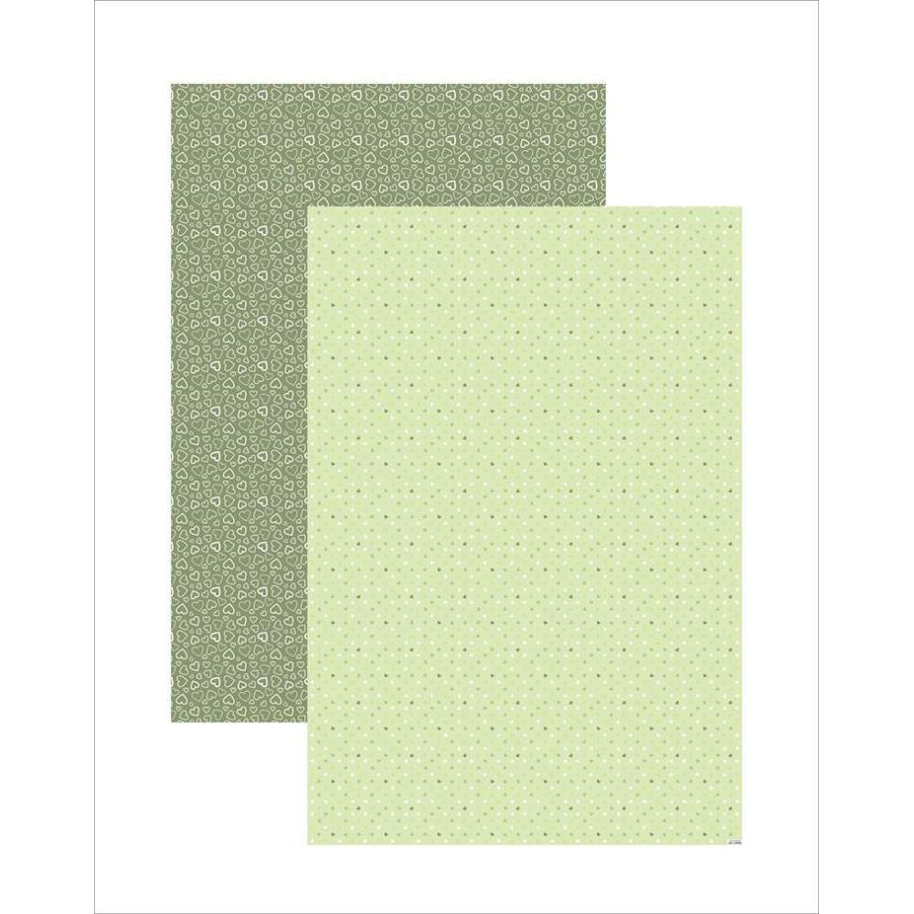 PAPEL PLUS MULTITONS CORACOES VERDE 64X94CM (BY FLAVIA TERZI)